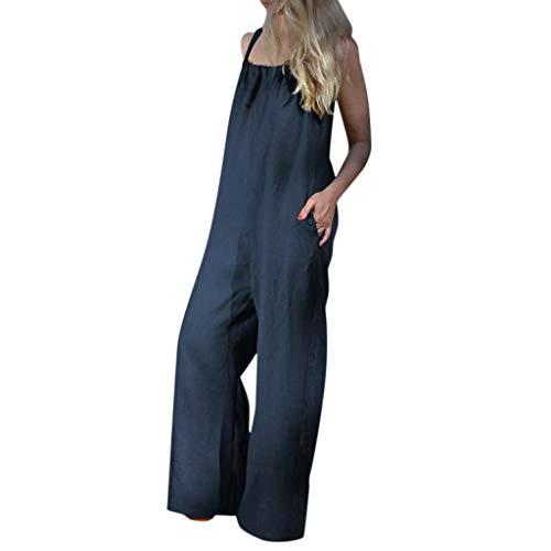 hositor Sexy Jumpsuit, Ladies Summer Sleeveless Loose Wide Leg Bib Pants Jumpsuit Romper Playsuit Plus Blue