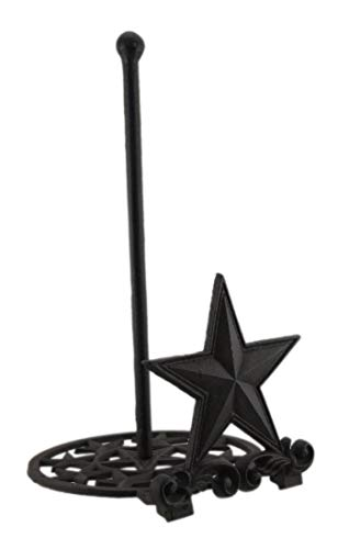 Rustic Brown Cast Iron Western Star Paper Towel Holder