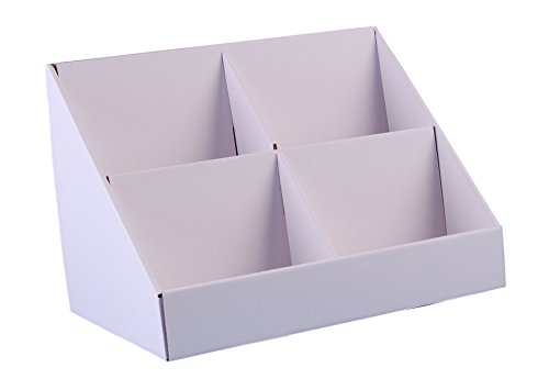Stand-Store 4 Pocket Cardboard Point of Sale Display Stand for CD's/DVD's/Greeting Cards - White
