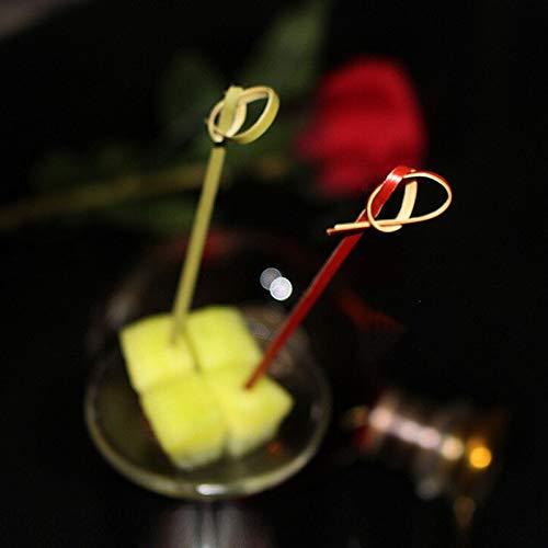 Muddler Cocktails 100pcs Cocktail Decorative Bamboo Sticks Ring Fruit Toothpick Dessert Birthday Wedding Decorative Party Supplies