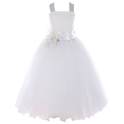 FAYBOX Pageant Wedding Flower Girl Dress Crossed Back Bow Feather Sash Fluffy 6 White