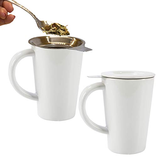 (Primula (2 Pack) 14oz Stainless Steel Loose Tea Infuser And Ceramic Coffee Mug Fine Mesh Strainer)
