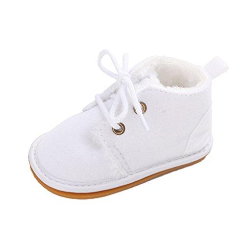 CHENGYANG Baby Mädchen Winter Warm Schnee Stiefel Prewalker Kind-Schuh Rutschfest Lauflernschuhe Weiß#22
