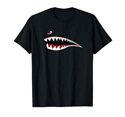Shark Teeth Nose Art T-Shirt - WWII Military Plane Aircraft