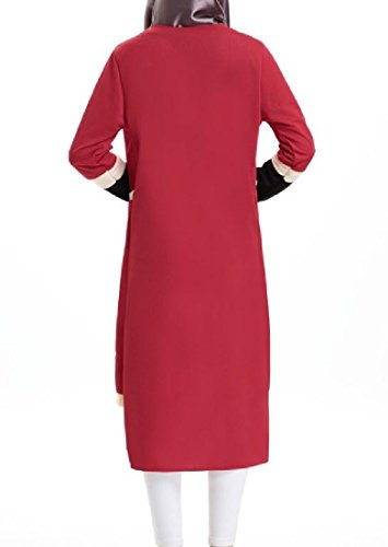 Long Muslim Dress Fake Short Sleeve Coolred Women Casual Two Knitted Black 0xzqwz7InU