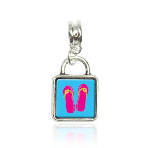 Tropical Sandals Flip Flops Pink Euro European Italian Style Bracelet Bead Sqr Charm