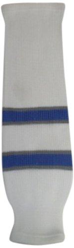 fan products of DoGree Hockey Winnipeg Knit Hockey Socks, 20-Inch, White/Blue