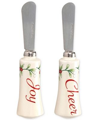 Pfaltzgraff Winterberry Collection Cheer & Joy Spreaders, Set of 2