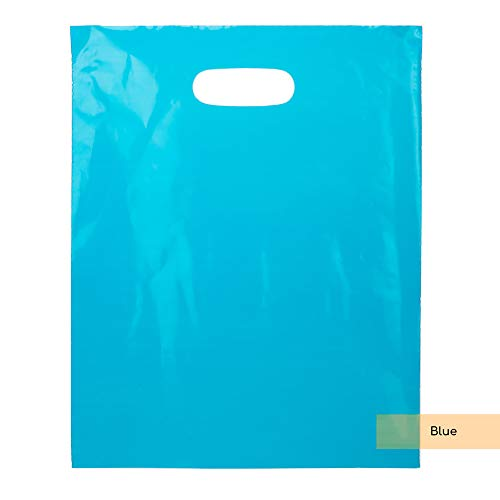 ClearBags LDPE Clear Handle Bag | Merchandise Bags With Die Cut Handles | Strong and Tear Resistant | For Trade Shows, Retail, and Shopping | NFL Stadium Approved (100 Bags, Blue) Affordable Wedding Cd Favors