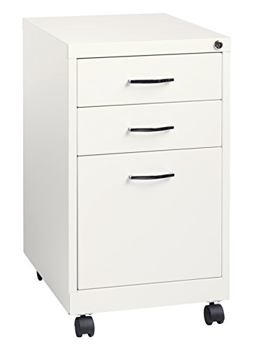 "Space Solutions 19"" Deep Metal Pedestal File Cabinet with Wheels - Home Office Collection - White"