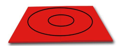 10' x 10' - Red - Premium Wrestling and Martial Arts Mat, Black Circles
