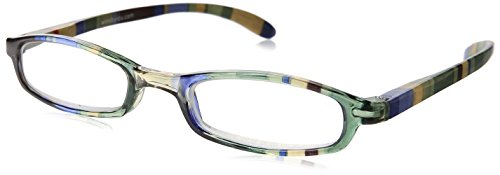 Wink Fancy Slim Green Stripe Reading Glass with Matching Cas