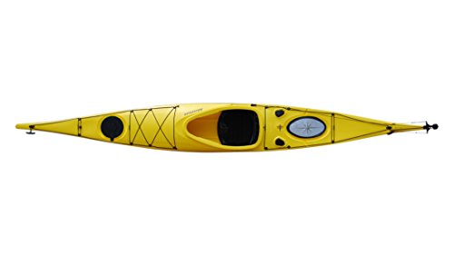 Brooklyn Kayak Company BKC UH-SK287 Touring Kayak 14 ft 11-inch Solo Distance Travel Kayak for Open Water Paddling, Collapsible Paddle Included (Yellow)