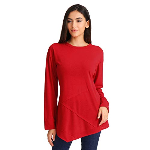 iFOMO Casual Long Sleeve O Neck Solid Patchwork Asymmetrical Hem Pullover T Shirt Tops Blouse for Women (Red,L)