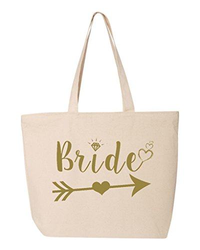 (Shop4Ever Bride Heart Arrow Gold Heavy Canvas Tote with Zipper Wedding Reusable Shopping Bag 12 oz Natural 1 Pack Zip)