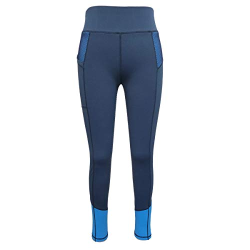 HR Farm Women's Silicone Tights Horse Riding Gel Grip Pull On Leggings with Pocket (Navy-Full seat, L) ()
