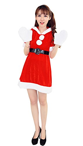[YFFaye Women's Red Eve Rabbit Ears Christmas Costumes] (Irish Dancing Solo Costumes)
