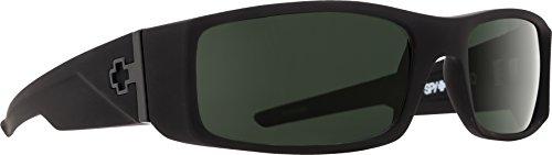 Spy Optic Hielo 670375973864 Polarized Flat Sunglasses, 56 mm (Soft Matte Black/Happy Gray/Green Polar)