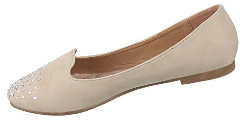 Damen Schuhe Stiefel Stiefeletten Pumps Strass Hellbraun