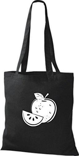 ShirtInStyle Bolso de tela Bolsa de algodón Tu Favorita frutas y hortalizas manzana - Fucsia, 38 cm x 42 cm Negro