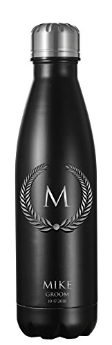Personalized Visol Marina Double Wall Insulated Water Bottle 16oz - Black Matte by Visol
