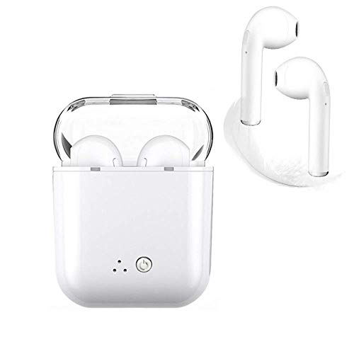 Wireless Earbuds Bluetooth Headset with Noise Reduction Stereo Headphones Sweat-Proof Headphones Compatible with All iOS Android Smartphones (White)