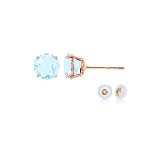Genuine 14K Solid Rose Gold 4mm Round Natural Aquamarine March Birthstone Stud Earrings