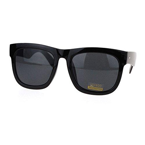 Oversized Square Sunglasses Black Thick Horn Rim Frame UV 400