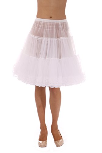 Malco Modes Zooey Knee Length Women's Chiffon Petticoat Slip with Lace Bottom for a Soft Minimal Increase in Skirt Volume