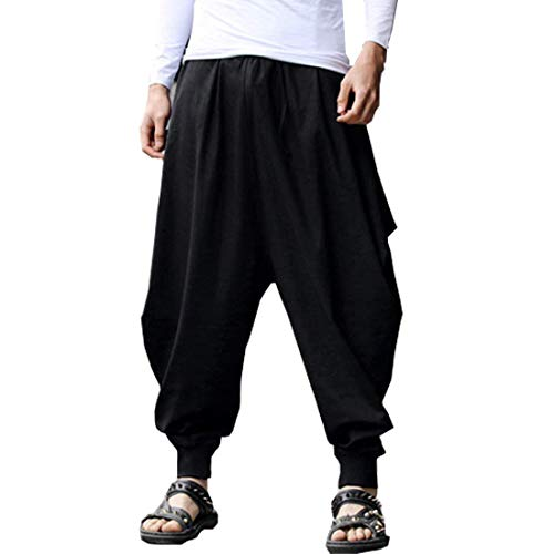 ONTTNO Men's Floral Stretchy Waist Casual Ankle Length Pants (Black)