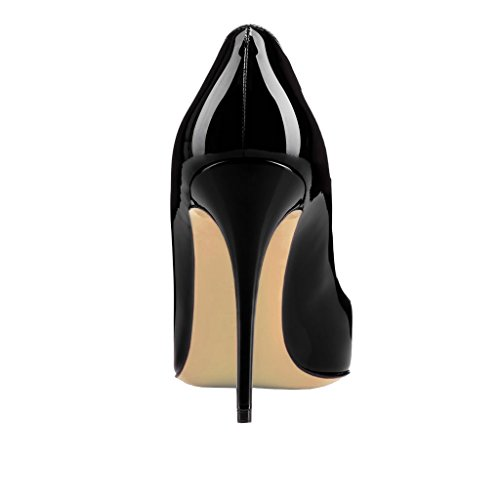 Schwarz 10cm Slip on Spitzschuh Kleid Pumpen Zesagh Lackleder EKS Sexy Stilettos Absatz Damen wPqYCg