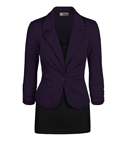 Women's Casual Work Office Blazer Jacket JK1131 Eggplant Large (Price Velvet Blazer)