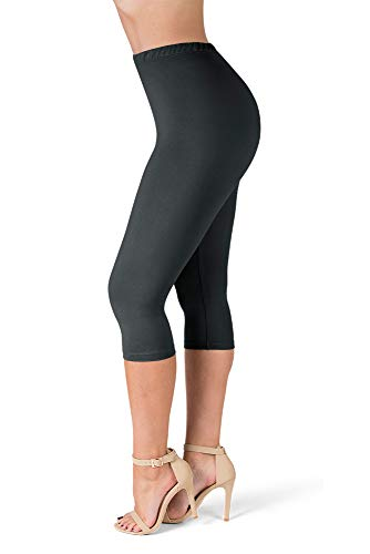 SATINA High Waisted Ultra Soft Capris Leggings - 20 Colors - Reg & Plus Size (Plus Size, Black)