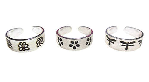 3 Silver Toe Rings Dragonfly, Daisy and Butterfly Set of 3 IN GIFT BOX … by CBD
