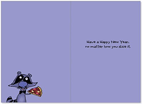B1226 Box Set of 12 New Year Raccoon Hilarious New Year Paper Cards with Envelopes Photo #2