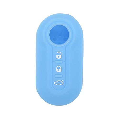 SEGADEN Silicone Cover Protector Case Skin Jacket fit for FIAT 3 Button Flip Remote Key Fob CV4759 Light Blue