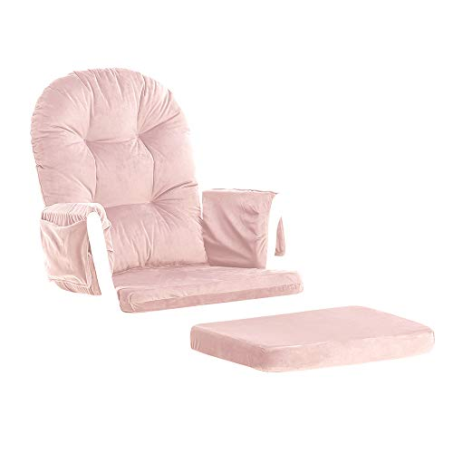 Glider Rocking Chair Replacement Cushions Velvet Washable for Chairs & Ottoman Pink