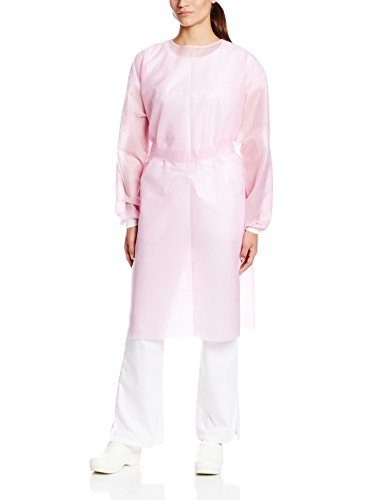 ValuMax 3360PXL Disposable SPP Cover Gown, Heavier Fabrics, Fluid Resistant, Tie Back, Knit Cuffs, Pink, X-Large, Pack of 10 by Valumax