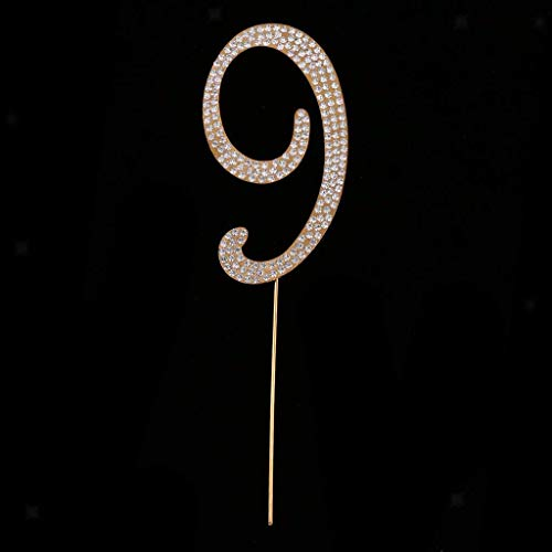 BROSCO Bling Rhinestone 0 to 9 Cake Topper Wedding Birthday Anniversary Table Numbers | Number - Gold 9