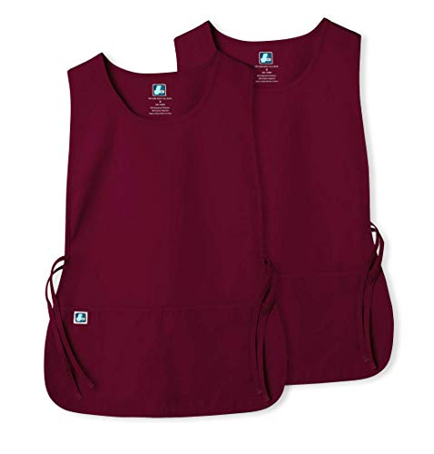 Smock Housekeeping (Adar Unisex Cobbler Apron (2 Pack) with 2 Pockets/Adjustable Ties - Available in 18 Colors - 7022 - Burgundy - X)
