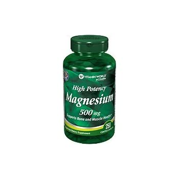 Vitamin World High Potency Magnesium 500 Mg (250 Coated Caplets)