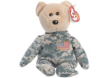 TY Beanie Babies Salute Military Camouflage Bear (Flag on (American Flag Teddy Bear)