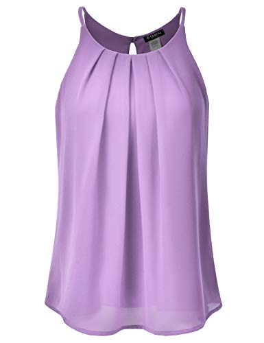 Layered Crewneck T-shirt - EIMIN Women's Crewneck Pleated Front Double Layered Chiffon Cami Tank Top Lavender 2XL