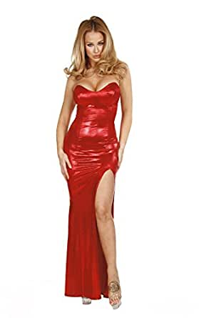 Nom de Plume, Inc Sexy Stretch Shimmer Jessica Rabbit Gown Small Red