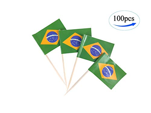 JBCD Brazil Flag Brazilian Flags,100 Pcs Cupcake Toppers Flag, Country Toothpick Flag,Small Mini Stick Flags Picks Party Decorations Celebration Cocktail Food Bar Cake Flags