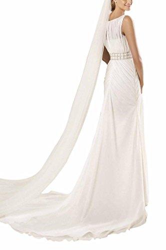 BRIDE Lang Schlicht A GEORGE Linie Elfenbein Rundkragen Ballkleid Chiffon Abendkleid Brautjungfernkleid gOTwxqAw