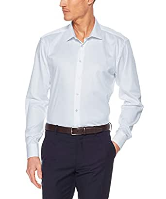 Calvin Klein Men's Slim Fit Organic Cotton Business Shirt, Blue Diamond Self Dobby, 37cm Collar