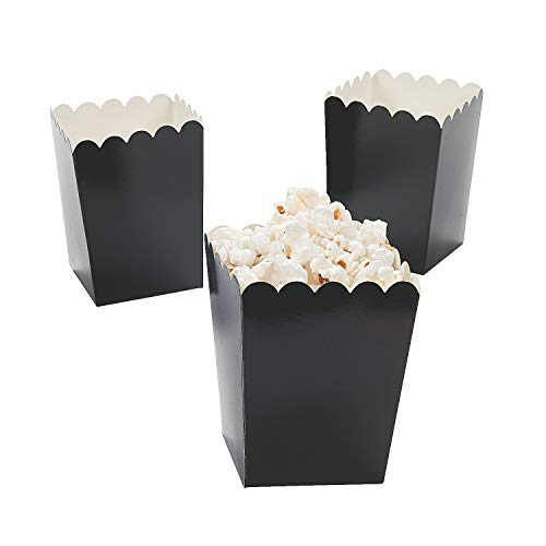 Fun Express - Mini Black Popcorn Boxes (24pc) - Party Supplies - Containers & Boxes - Paper Boxes - 24 Pieces -