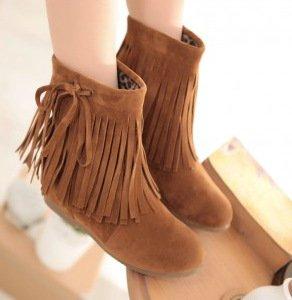NSXZ Female winter increased stealth round tassel short boots BROWN-120W