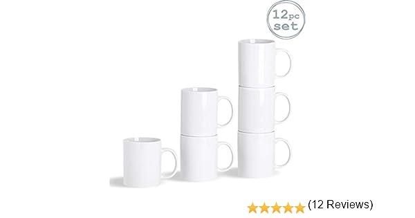 Argon Tableware Juego de Tazas Blancas para el café o té - Laterales Rectos - 285 ml - Pack de 12: Amazon.es: Hogar